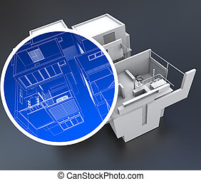 Home automation system - 3D rendering of a building with a...