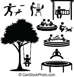 Home Backyard Activity Pictogram - A set of pictogram...