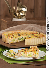 Home Baked Salmon Quiche With Broccoli. Traditional British...