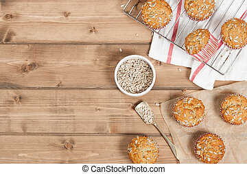 Home Baked Super Food Muffins With Sunflower Seeds, Banana, ...