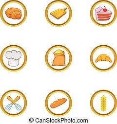 Home bakery icon set, cartoon style