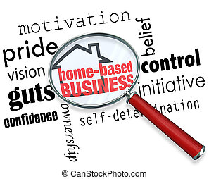 Home Based Business Magnifying Glass Searching Information Self