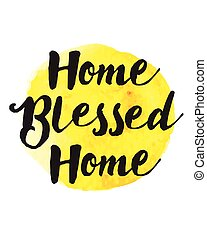Home Blessed Home Typography Poster on bright Yellow Watercolor Stain