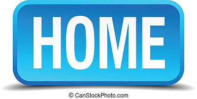 Home blue 3d realistic square isolated button