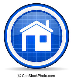 home blue glossy icon on white background