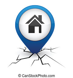Home blue icon in crack. - Home modern icon. Vector...