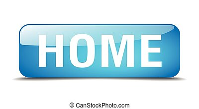 home blue square 3d realistic isolated web button