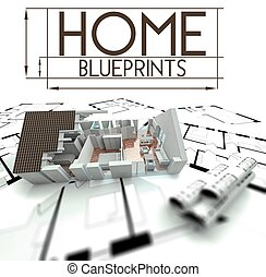 Home blueprints with project of house