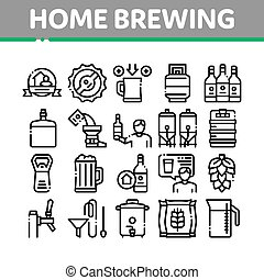 Home Brewing Beer Collection Icons Set Vector
