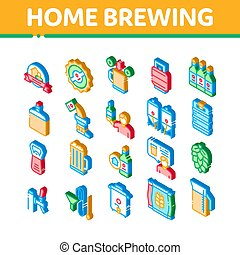 Home Brewing Beer Isometric Icons Set Vector