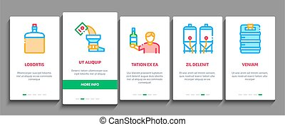 Home Brewing Beer Onboarding Elements Icons Set Vector