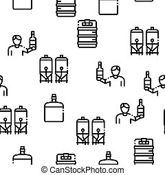 Home Brewing Beer Seamless Pattern Vector