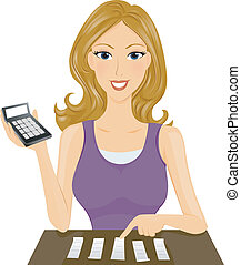 A Smiling Lady Computing Expenses at Home