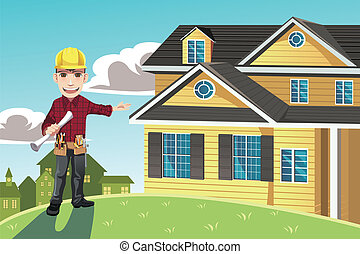 A vector illustration of a home builder posing in front of a house