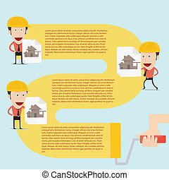 Home builder Infographics in flat design with useful icon