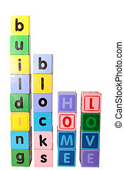 home building blocks love in letters upright