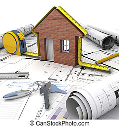 Home building process - A house under construction on top of...