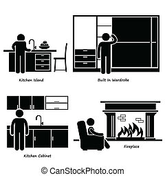 A set of human pictogram using different type of home built-in furniture. They are man using kitchen island, built-in wardrobe, kitchen cabinet, and fireplace.