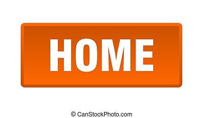 home button. home square orange push button