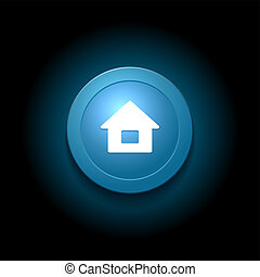 Home Button. Modern Glossy Blue Design. Vector