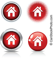 Home buttons. - . Home beautiful buttons. Vector ...