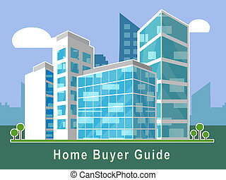 Home Buyer Guide Building Illustrates Advice On Purchasing Property - 3d Illustration