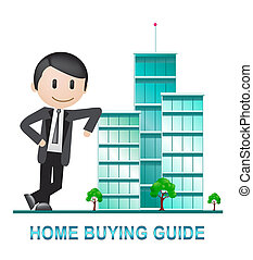 Home Buying Guide Apartments Depicts Evaluation Of Buying Real Estate - 3d Illustration