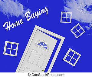 Home Buying Guide Door Depicts Evaluation Of Buying Real Estate - 3d Illustration