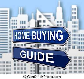 Home Buying Guide Sign Depicts Evaluation Of Buying Real Estate - 3d Illustration
