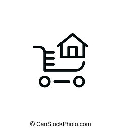 Home buying line icon isolated on white. Vector illustration