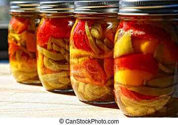 Home Canned Jars of Peppers