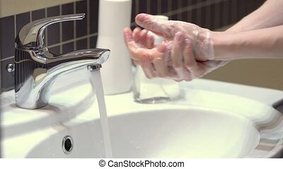 Home care treatment. Female hands with an antiseptic. Antibacterial gel and disinfectant. Health care concept. Protect yourself from germs and coronavirus.