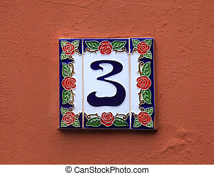 ceramic tile with number 3