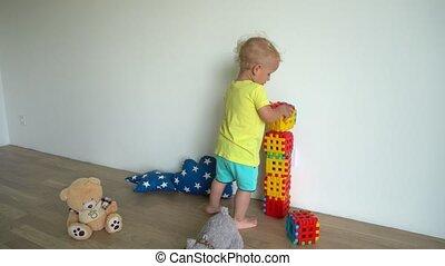 home., chłopiec, gmach, gimbal, kloce, budowa, mały, ruch, ...
