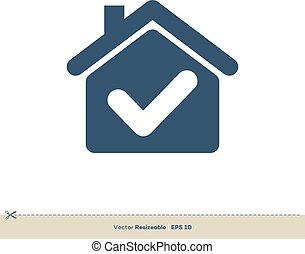 Home Check Mark Vector Logo Template Illustration Design