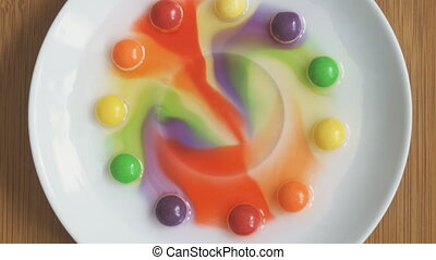 Home Chemistry. Dye from sweets dissolves in water.