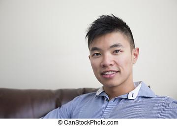 home., chino, relajante, hombre