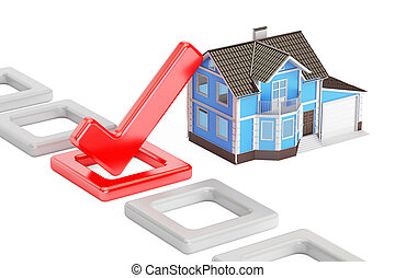 Home choice concept with check mark, 3D rendering