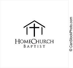 Home church logo house bible logotype calvary . Home Baptist Church Logo Design Vintage Illustration