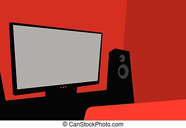 Home cinema. A room with a large TV and speakers.