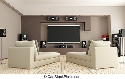 home cinema - elegant living room with home theatre system -...