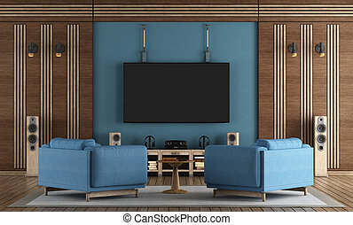 home cinema room with TV hanging on blue wall ,armchairs and wooden decorations - 3d rendering