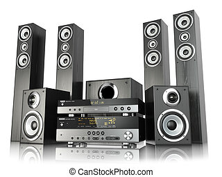 Home cinema speaker system. Loudspeakers, player and...