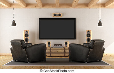 Home cinema system with vintage furniture - Vintage room...
