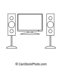 Home cinema with sound speaker icon