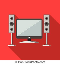 Home cinema with sound speakers icon