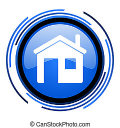 home circle blue glossy icon