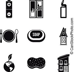 Home cleaning icon set, simple style