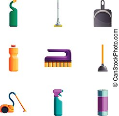 Home cleaning tools icon set, cartoon style