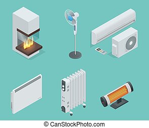 Home climate equipment isometric icon set fireplace, oil heater with screen controls, Convector Heater, electric heater, Infrared heater, conditioner, Fan